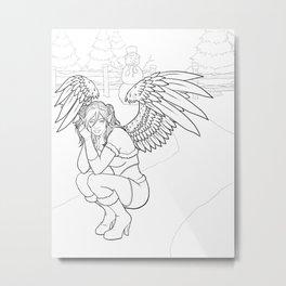 Morigan: Snow Angel Line Art Metal Print