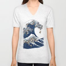 The Great Wave of Pug Unisex V-Neck