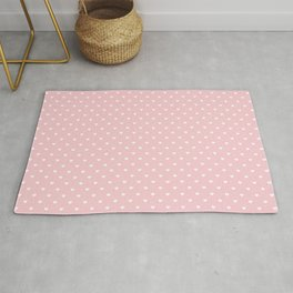 Mini White Love Hearts on Millennial Pink Pastel Rug