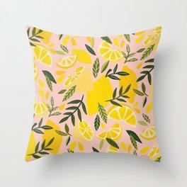 Lemon Blooms – Blush Palette Throw Pillow