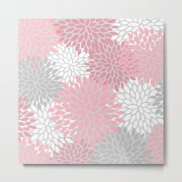 Floral Prints, Pink, White and Grey, Coloured Prints Metal Print