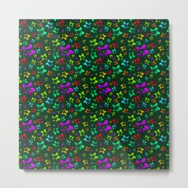 Pattern of cheerful children's shimmering stars on a green background. Metal Print