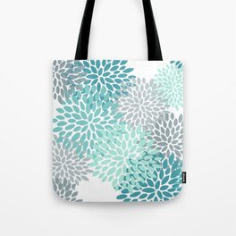 Floral Pattern, Aqua, Teal, Turquoise and Gray Tote Bag