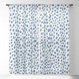Handmade Polka Dot Paint Brush Pattern (Pantone Classic Blue and White) Sheer Curtain