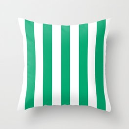 Sesame Street Green - solid color - white vertical lines pattern Throw Pillow
