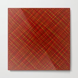 Wicker ornament of their red threads and yellow intersecting fibers. Metal Print