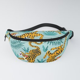 Asian tigers and tropic plants on background. Fanny Pack