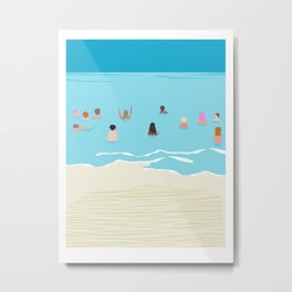 Stoked - memphis throwback retro neon pop art illustration socal cali beach surfing swimming sea Metal Print
