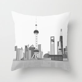 Shanghai (Black & White) Throw Pillow