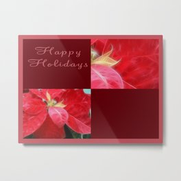Mottled Red Poinsettia 2 Happy Holidays Q10F1 Metal Print