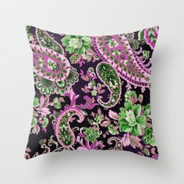 Green Fuchsia Paisley Throw Pillow