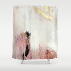 Sunrise [2]: a bright, colorful abstract piece in pink, gold, black,and white Shower Curtain