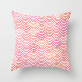 dragon fish scales simple pattern Nature background with japanese wave Throw Pillow