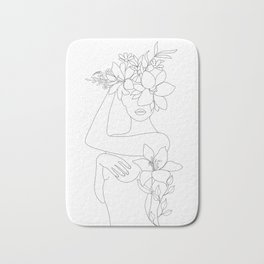 Minimal Line Art Woman with Flowers VI Bath Mat