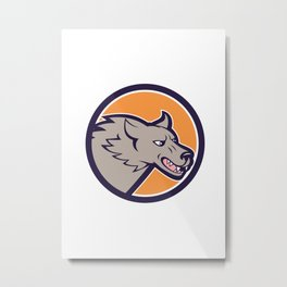 Grey Wolf Head Angry Circle Cartoon Metal Print