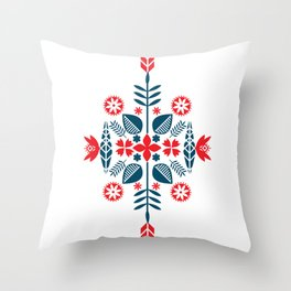 Scandinavian Folk Pattern Throw Pillow