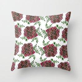 Watercolor houseleek - pink and green Throw Pillow