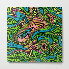 Cartoon Camouflage Abstract Art Pattern Metal Print