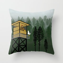 Mr Big & Gerry the Seagull from Flock of Gerrys Gerry Loves Seagulls by Seasons Kaz Sparks Throw Pillow
