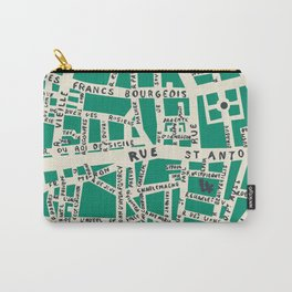 PARIS MAP GREEN Carry-All Pouch