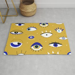 Funny eyes open and close doodles hand drawn on yellow background illustration pattern Rug