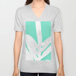 Green Fern on Ice Mint Green Inverted Silver Unisex V-Neck