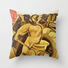 bread for us cccp sssr soviet union political propaganda revolution poster  Throw Pillow