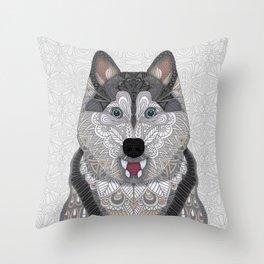 Happy Husky Throw Pillow