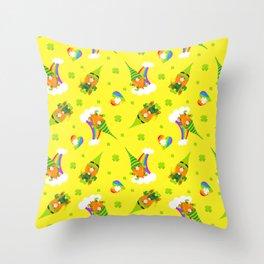 St. Patrick's Day Leprechaun, Rainbows and Shamrock Hearts Throw Pillow