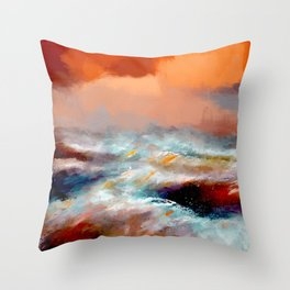 Ocean Waves Abstract Background Throw Pillow