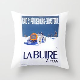 1911 La Buire French Automobile Advertising Poster Throw Pillow