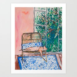 Napping Ginger Cat in Pink Jungle Garden Room Art Print
