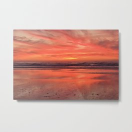 Sky on  Fire - At the Beach by Reay of Light Metal Print