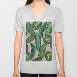 Jungle Leaves, Banana, Monstera II Pink #society6 Unisex V-Neck