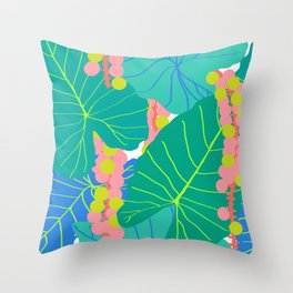 Elephant Ear Leaves + Sea Grapes Throw Pillow