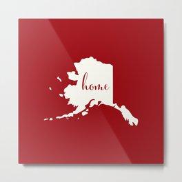 Alaska is Home - White on Red Metal Print