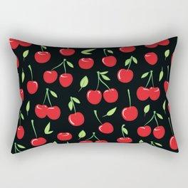 Cheerful cherry pattern. Colorful cherries on black Rectangular Pillow