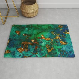 Emerald And Blue Glitter Marble Rug
