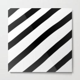 Soft Diagonal Black and White Stripes Metal Print