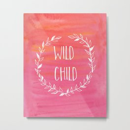 Wild child watercolour wreath Metal Print
