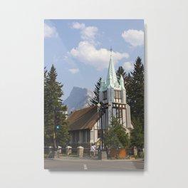 st paul's presbyterian church with mount rundle Metal Print