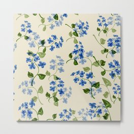 Beautiful bright floral seamless pattern with forget-me-not on beige background Metal Print