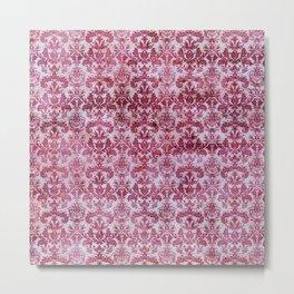 Vintage Antique Pink-Magenta Wallpaper Pattern Metal Print