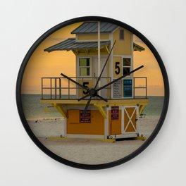 Yellow Beach Sunrise Lifeguard Hut Print Gifts Wall Clock