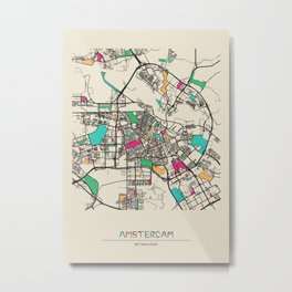 Colorful City Maps: Amsterdam, Netherlands Metal Print