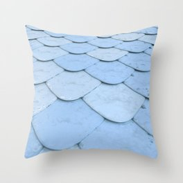Pattern of blue rounded roof tiles Throw Pillow