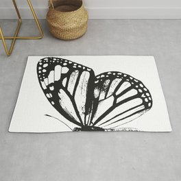 Monarch Butterfly | Right Butterfly Wing | Vintage Butterflies | Black and White | Rug