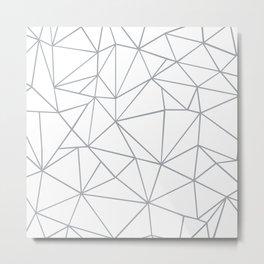 Ab Outline 2 Grey on White Metal Print