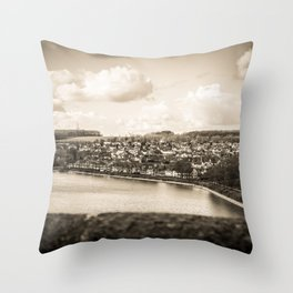 Cityscape Möhne From Reservoir Barrage Wall sepia Throw Pillow
