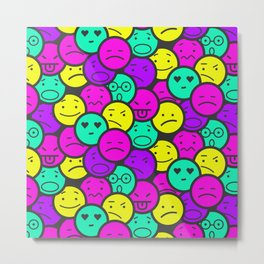 vivid coloured smile emoticons pattern Metal Print
